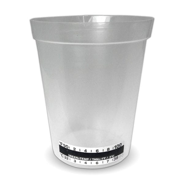OPEN BEAKER COLLECTION CUP WITH TEMPERATURE STRIP